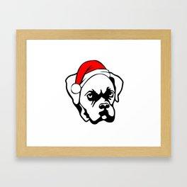 Boxer Dog with Christmas Santa Hat Framed Art Print