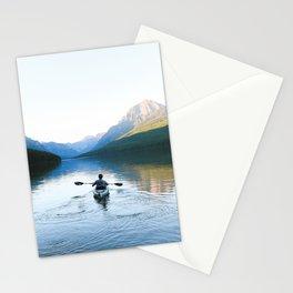 Kayaking on Bowman Lake Stationery Cards