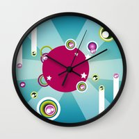 disco Wall Clocks featuring Disco by Klara Aldana