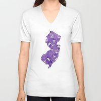 new jersey V-neck T-shirts featuring New Jersey in Flowers by Ursula Rodgers
