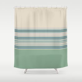 Mint Green Cream Stripes Shower Curtain