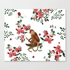 Monkey World: Nosy - White Canvas Print