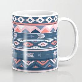 Coral and Navy Boho Ethnic Pattern Coffee Mug
