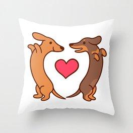 Cute cartoon dachshunds in love Throw Pillow