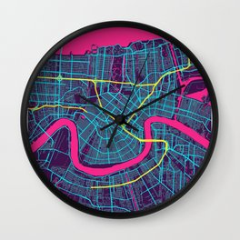 New Orleans Neon City Map, New Orleans Minimalist City Map Wall Clock