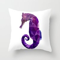 sea horse Throw Pillows featuring Sea horse by Julia Brnv