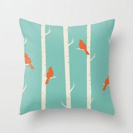 Birds in Winter Trees Throw Pillow