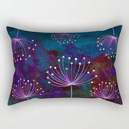 luminous dandelions on petrol blue Rectangular Pillow
