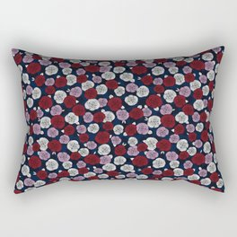 Roses in navy blue, orchid and burgundy red Rectangular Pillow