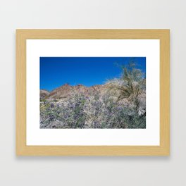 Mountains and Purple Flowers Framed Art Print