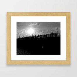 fishing on the Galata Bridge in İstanbul Framed Art Print