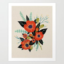 Red Poppies - Ivory Art Print