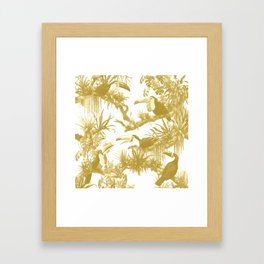 Toucans and Bromeliads - Spicy Mustard Framed Art Print