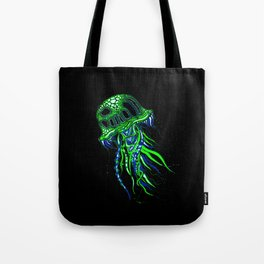 Jellyfish drawing | Colorful Art | Blue and Green | Black background Tote Bag