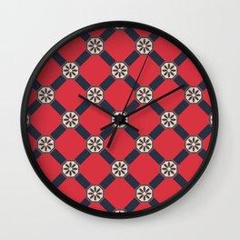 Novos começos Floral Portuguese Azulejo Tile Seamless Pattern Wall Clock