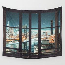 New York City Skyline Window Views Wall Tapestry