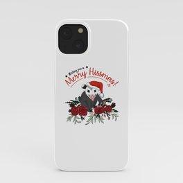 Merry Hissmas - floral christmas themed possum baby iPhone Case