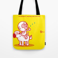 The Dog, the Monkey, and the Rain Tote Bag