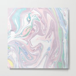Abstract pastel pink purple teal watercolor marble Metal Print