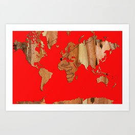 Wood bark - Red - Organic World Map Series Art Print