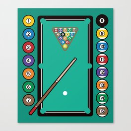 Billiards Table and Equipment Canvas Print