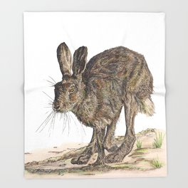 Hare II Throw Blanket