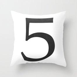 Number 5 (Black) Throw Pillow