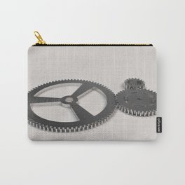 Set of metal gears and cogs on white Carry-All Pouch