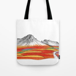 Mountain Landscape Contemporary Art, Mountain drawing, Modern Art, nature , Abstract Art, Mountains Tote Bag