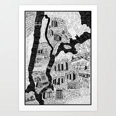 Hip-Hop Map of New York Art Print