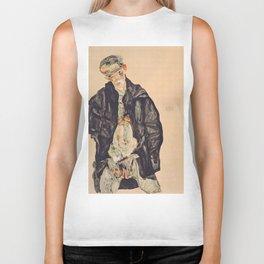 "Egon Schiele ""Selbstbildnis als Halbakt in schwarzer Jacke (Self-portrait in a black jack)"" Biker Tank"