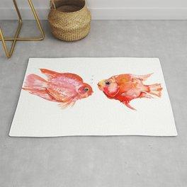 Two Love Fish, Fish art, Love, aquarium design, Parrot Cichlids Rug