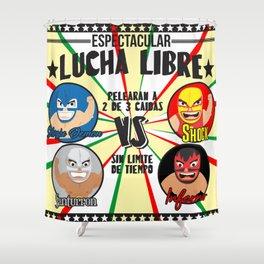 cartel de lucha libre Shower Curtain