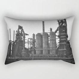 Black and White Bethlehem Steel Blast Furnace 2 Rectangular Pillow
