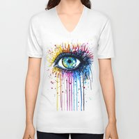 "shipping V-neck T-shirts featuring ""Rainbow Eye"" by PeeGeeArts"