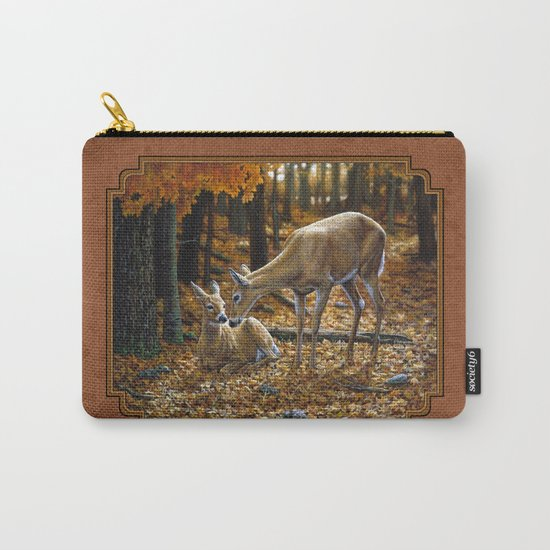 Whitetail Deer and Fawn in Autumn Carry-All Pouch