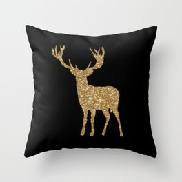 Sparkling golden deer - Wild Animal Animals Throw Pillow