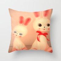 bunnies Throw Pillows featuring  Bunnies by Vintage  Cuteness