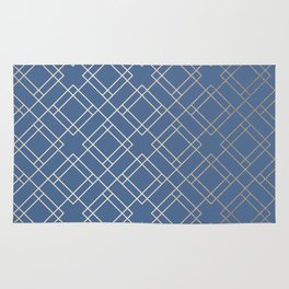 Simply Mid-Century in White Gold Sands on Aegean Blue Rug
