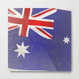 Flag of Australia Grunge Metal Print