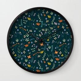 Retro Botanical Dark Wall Clock