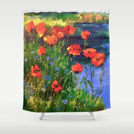Poppies at the pond Shower Curtain