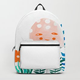 pink mushroom with floral elements Backpack