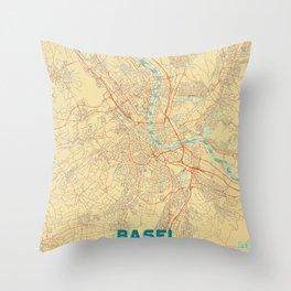 Basel Map Retro Throw Pillow