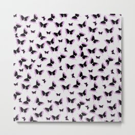 Black and pink butterflies Metal Print