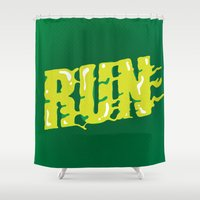 run Shower Curtains featuring Run by Gus Oenning
