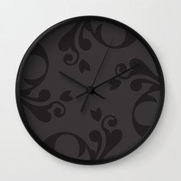 Venetian Damask, Ornaments, Swirls - Gray Black Wall Clock