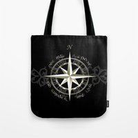 tolkien Tote Bags featuring Not all those who wander are lost - J.R.R Tolkien by Augustinet
