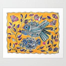 Madhubani - Blue Yellow Bird Art Print