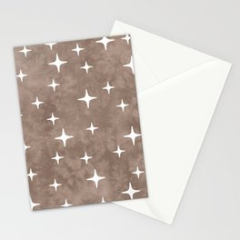 Mid Century Modern Star Pattern 223 Beige Stationery Cards